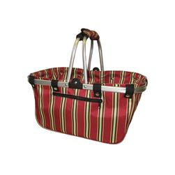 "JanetBasket Aluminum Frame Basket 18""  x 10""  x 9.5"" Red Stripes"