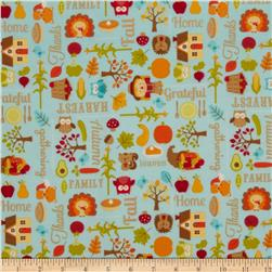 Riley Blake Happy Harvest Flannel Main Blue Fabric