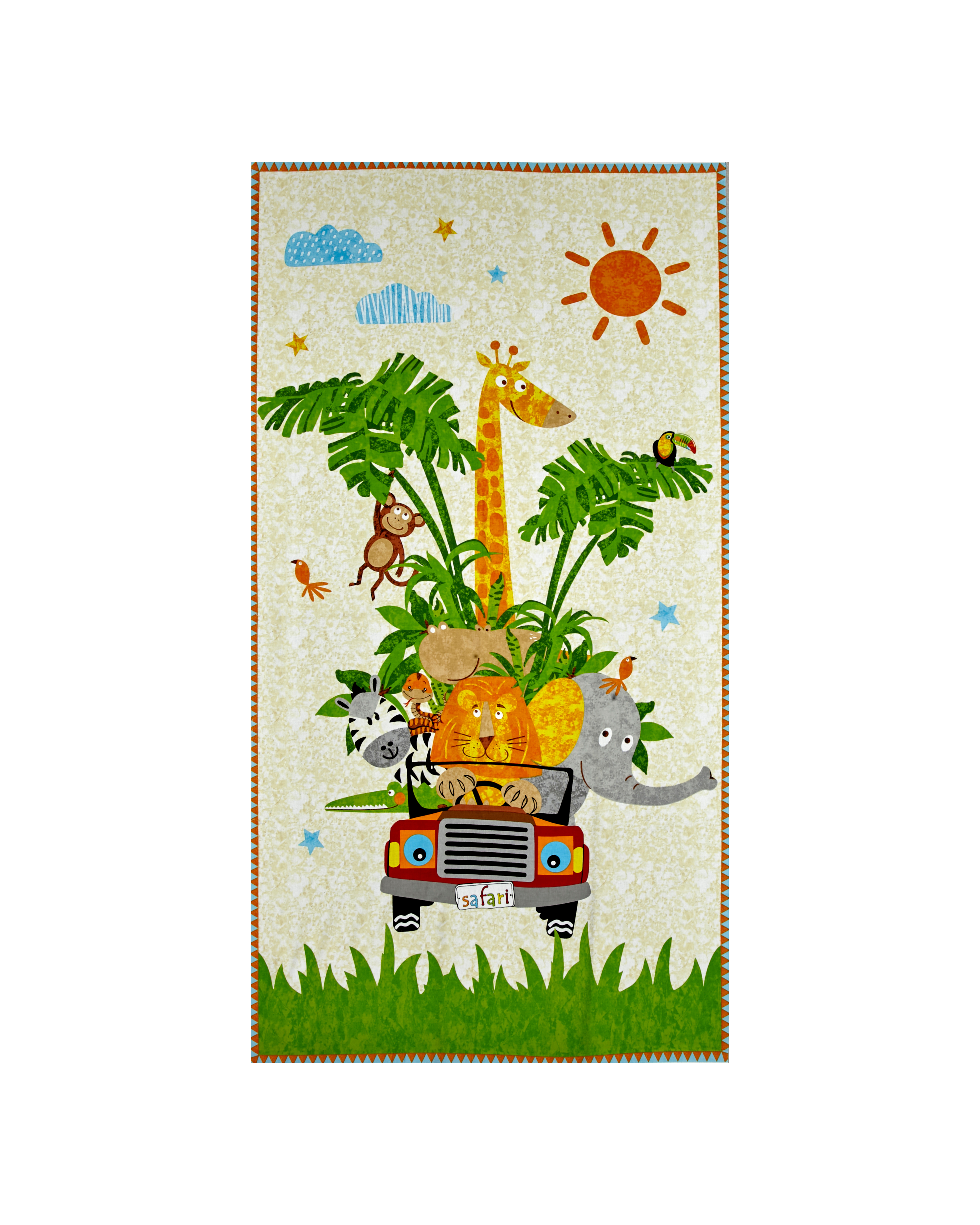 Safari Expedition 23.5'' Panel Of Animals In Jeep Ivory Fabric by Stardom Specialty in USA