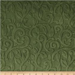 Minky Embossed Vine Cuddle Olive Fabric