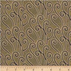 Enchantment Metallics Scroll Vines Taupe Fabric