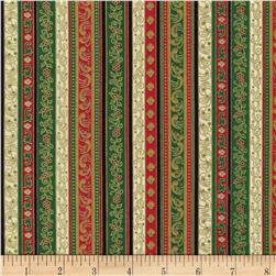 Timeless Treasures Twelve Days of Christmas Metallic Stripe Mult