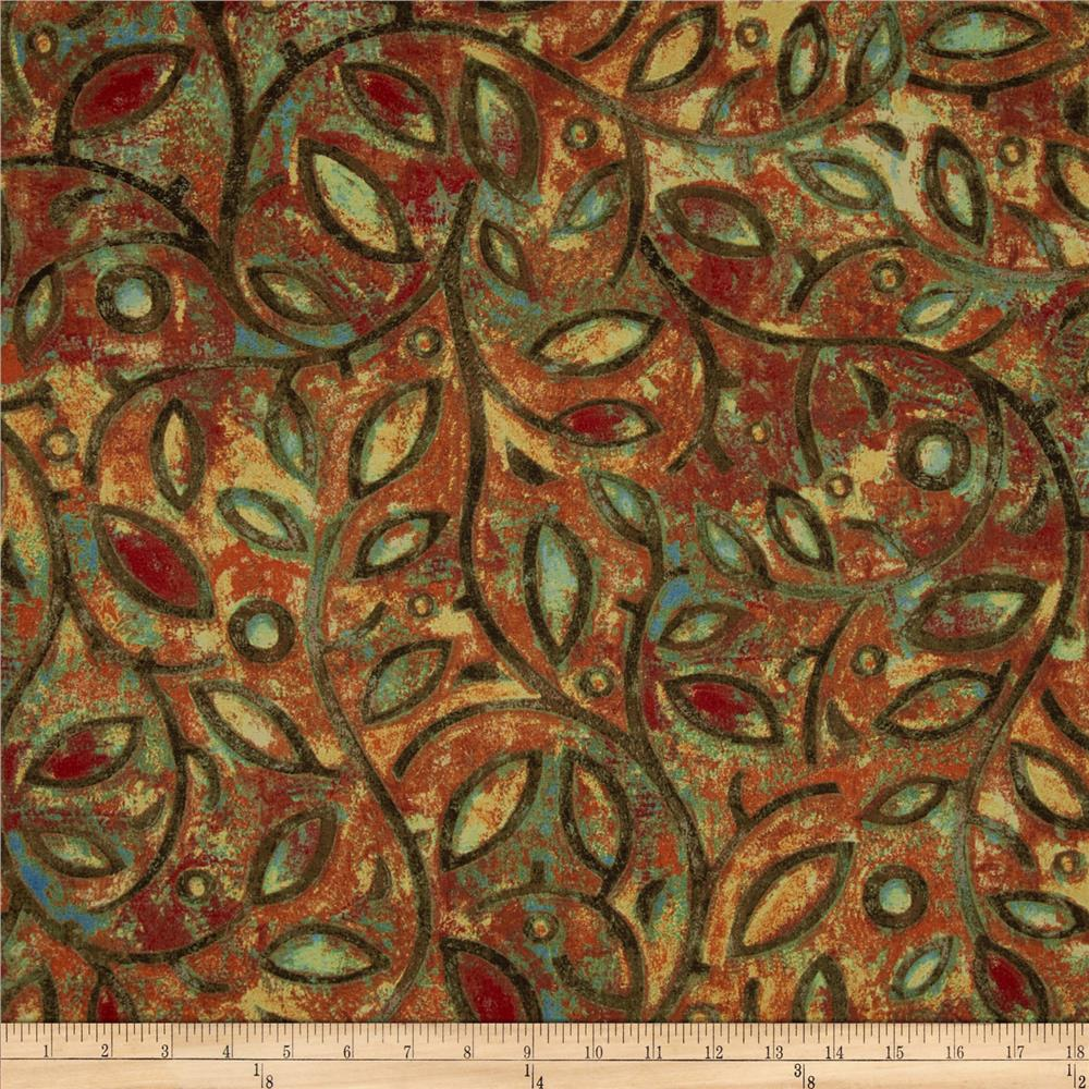 Tuscan Breeze Metallic Vines and Leave Brown