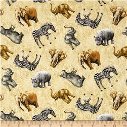 Jungle Party Tossed Animals Multi/Cream
