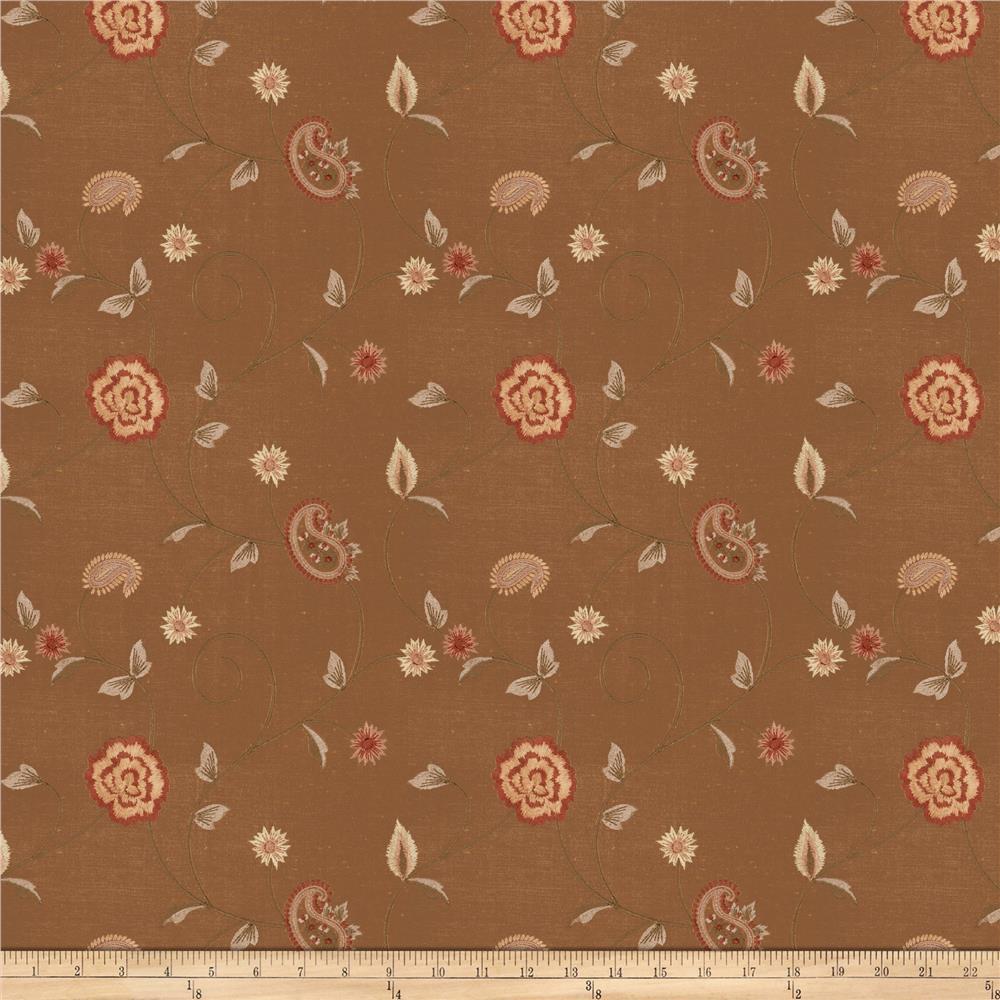 Fabricut Alamak Embroidered Shantung Bronze