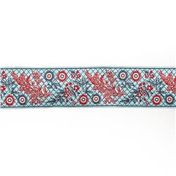 "1 1/2""French General Red Garland on Blue"