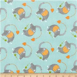 Zoovenirs Flannel Elephants Light Blue