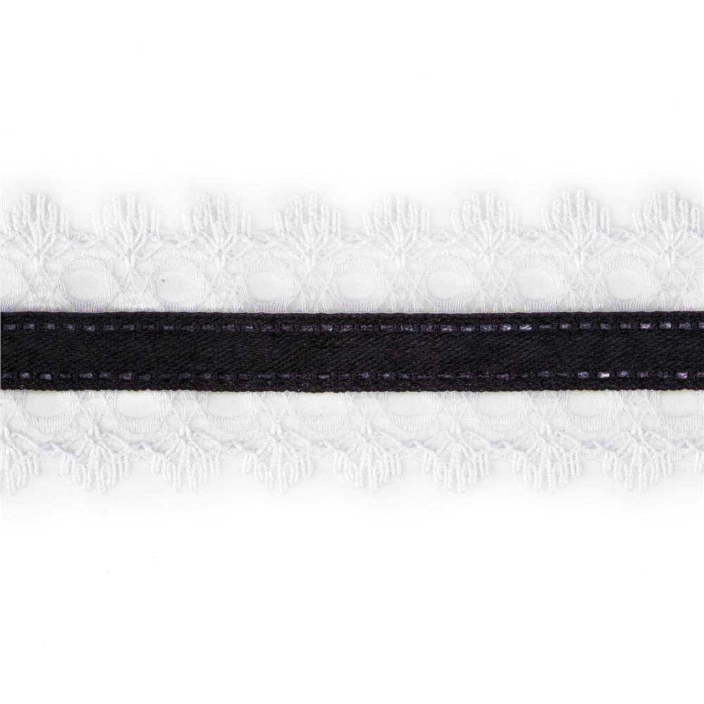 "1 1/2"" White Lace Satin Center Ribbon Black"