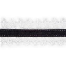 1 1/2'' White Lace Satin Center Ribbon Black