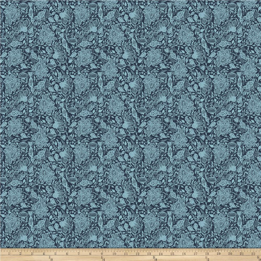 INOpets.com Anything for Pets Parents & Their Pets Garden Dreams Dream Navy Fabric