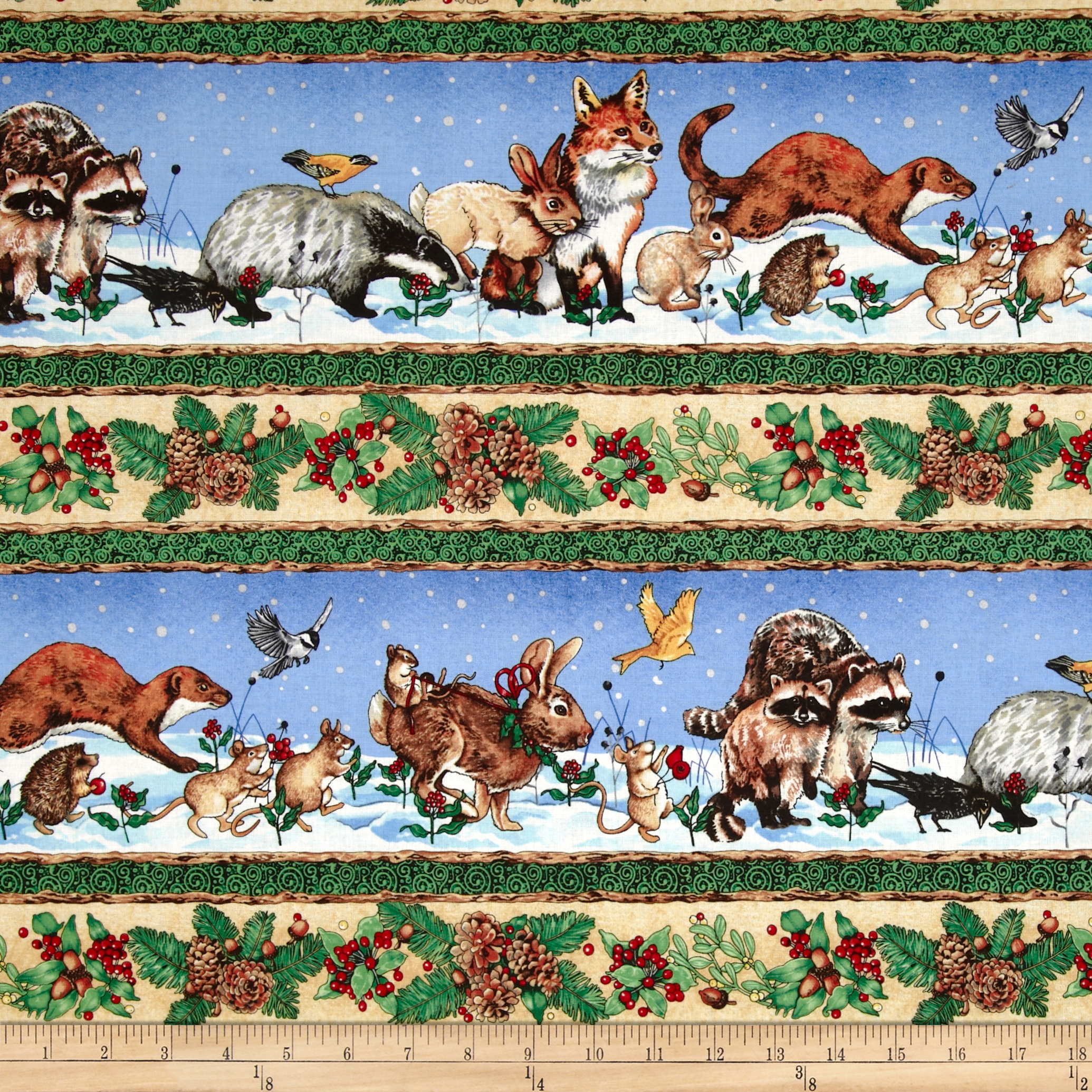Winter Animals Repeating Stripe Multi Fabric