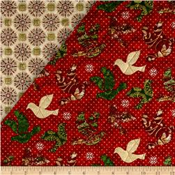 Peace on Earth Double Sided Quilted Doves Red