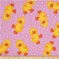 Flannel Tossed Baby Ducks Pink