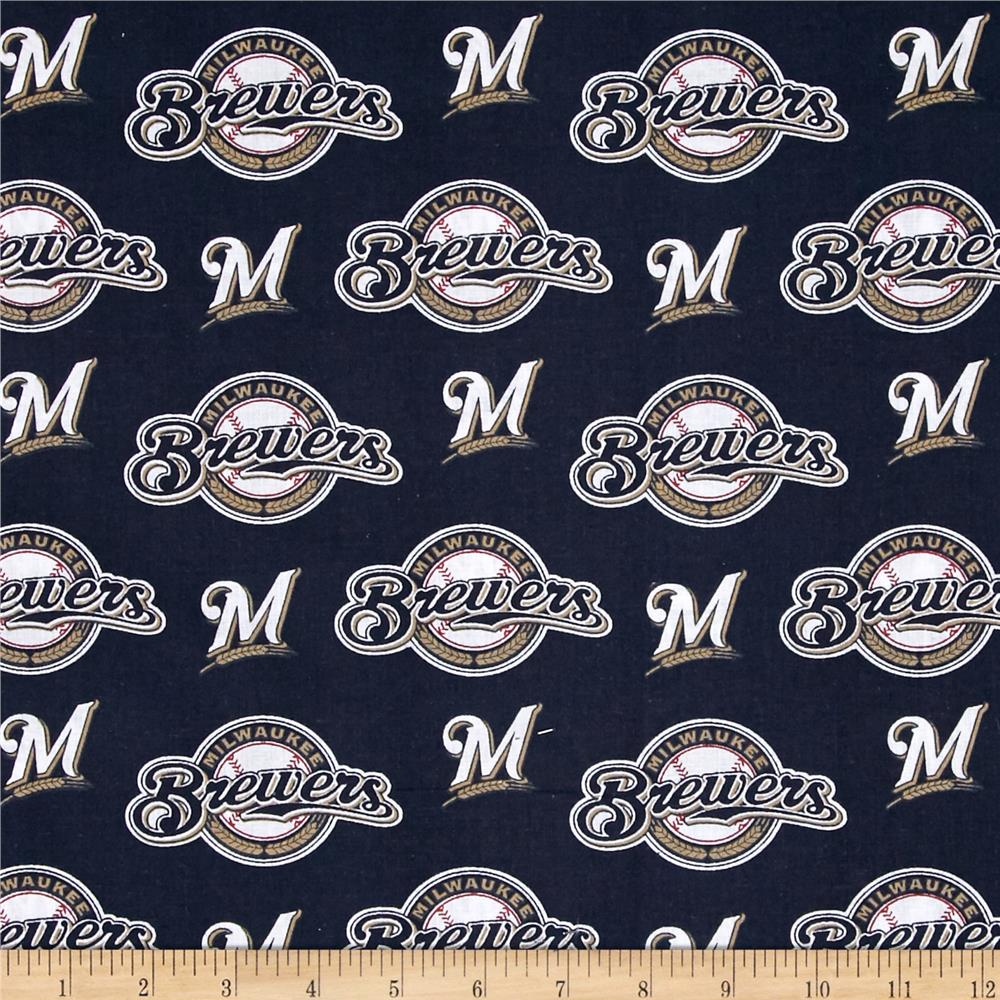 MLB Cotton Broadcloth Milwaukee Brewers Navy/White Fabric By The Yard