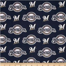 MLB Cotton Broadcloth Milwaukee Brewers Navy/White Fabric
