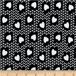 Crepe Double Knit White Falling Hearts on Black