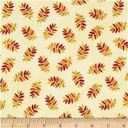 Harvest At Millbrook Farm Small Leaves Cream Fabric
