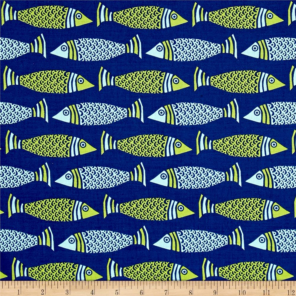 Moda tide pool fish royal multi discount designer fabric for Fish fabric for quilting