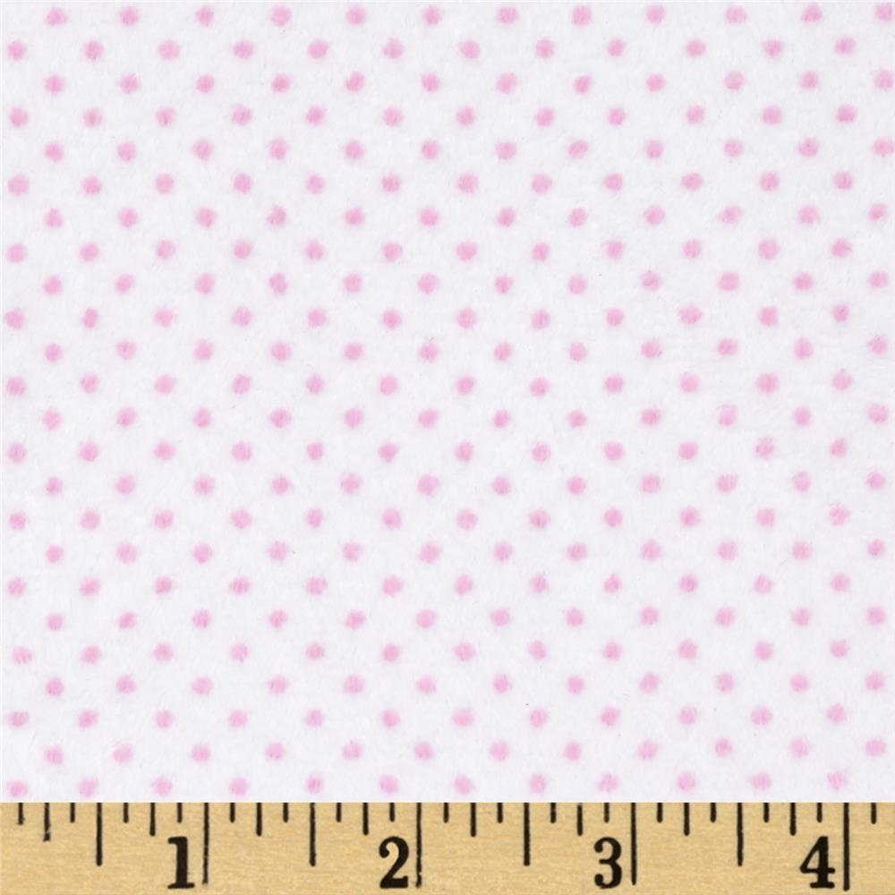 Minky Cuddle Classic Pin Dot Snow/Pink