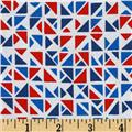 Timeless Treasures Ship Shape Geometric Triangles White/Red/Blue