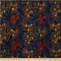 Lonni Rossi Batiks Gingko Leaves Midnight Fabric
