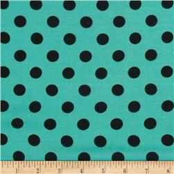 Rayon Challis Medium Dots Jade/Black