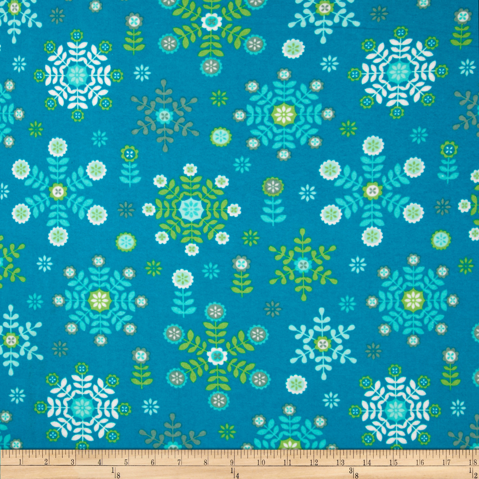 Winter Warmth Flannel Large Floral Snowflakes Turquoise
