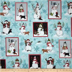 Robert Kaufman Holly Jolly Christmas Snowmen Snow