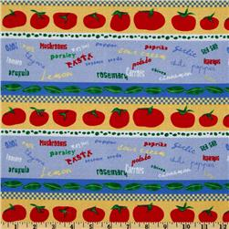 Funky Kitchen Striped Vegetables Blue