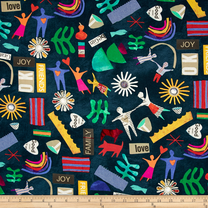 Story Village People Indigo Fabric by Windham in USA