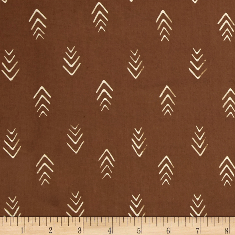 Image of Indah Batiks Herringbone Coffee Fabric
