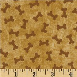 Puppy Love Tonal Bones Brown Fabric