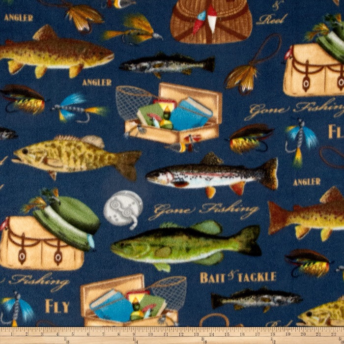 Image of Winterfleece Gone Fishing Multi Fabric