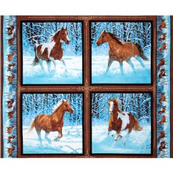 Wild Wings Approaching Storm Horse Pillow Panel Brown