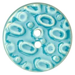 Ceramic Button 1 1/2'' Oval Textures Blue