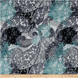 Brushed Hatchi Sweater Knit Paisley Teal/Grey