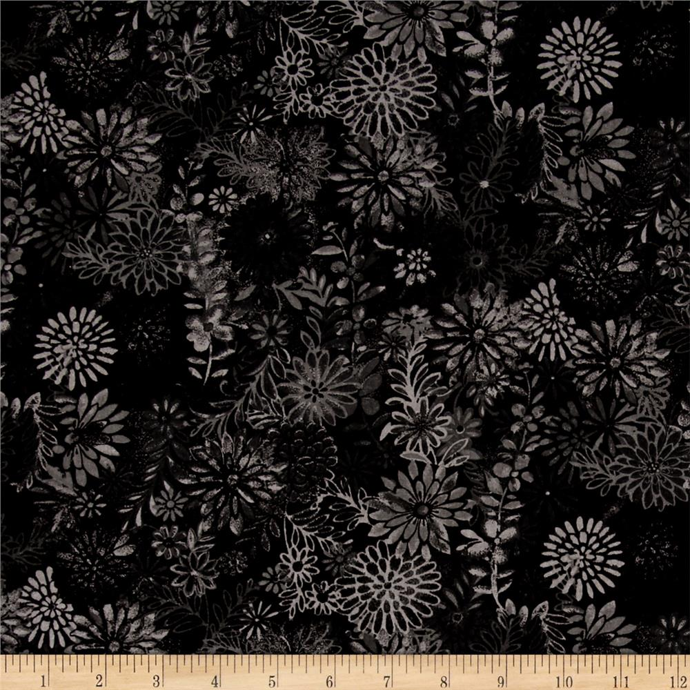 44'' Wide Quilt Packed Floral Black Fabric