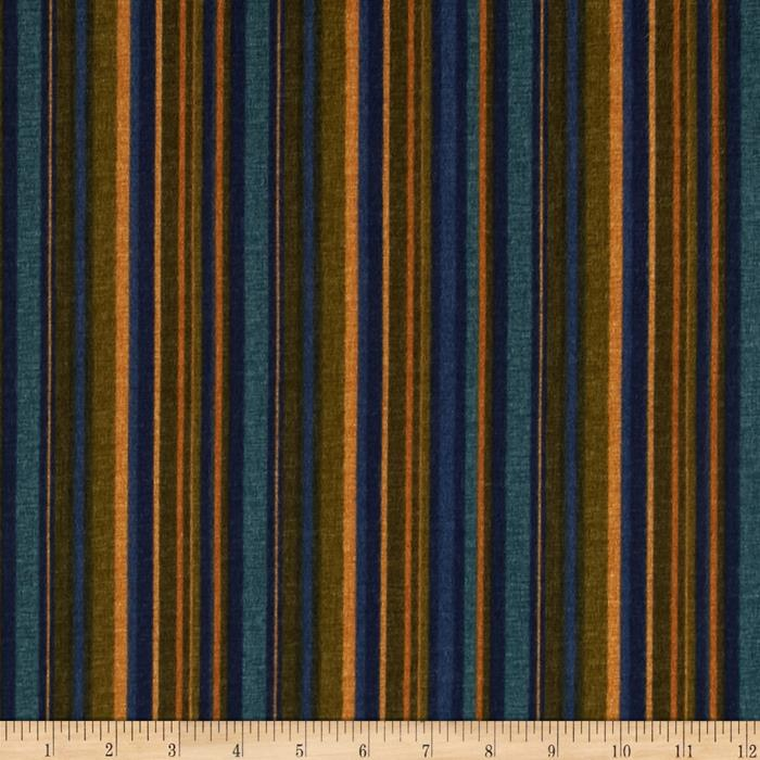 Kensington Flannel Stripe Navy Fabric By The Yard