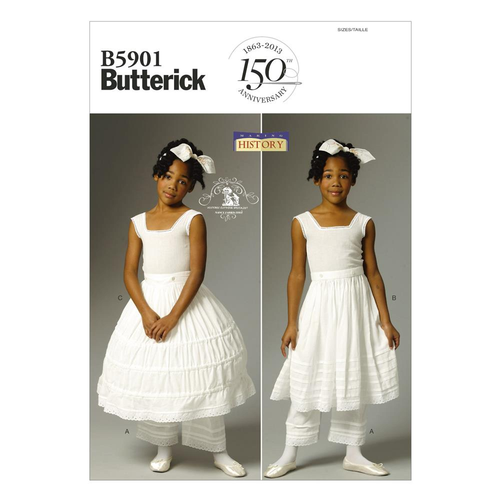 Butterick Children's/Girls' Drawers, Underskirt and Hoop Skirt Pattern B5901 Size CDD