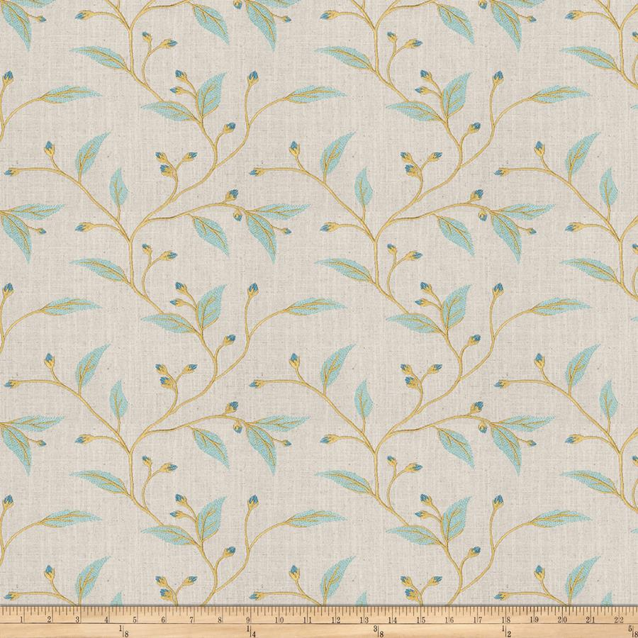 Fabricut Embroidered Linen Juma Teal