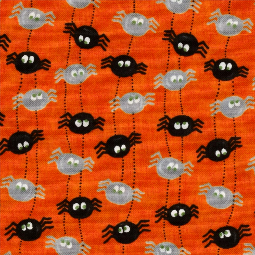 Moda Pumpkin Party Itsy Bitsy Spiders Pumpkin Orange