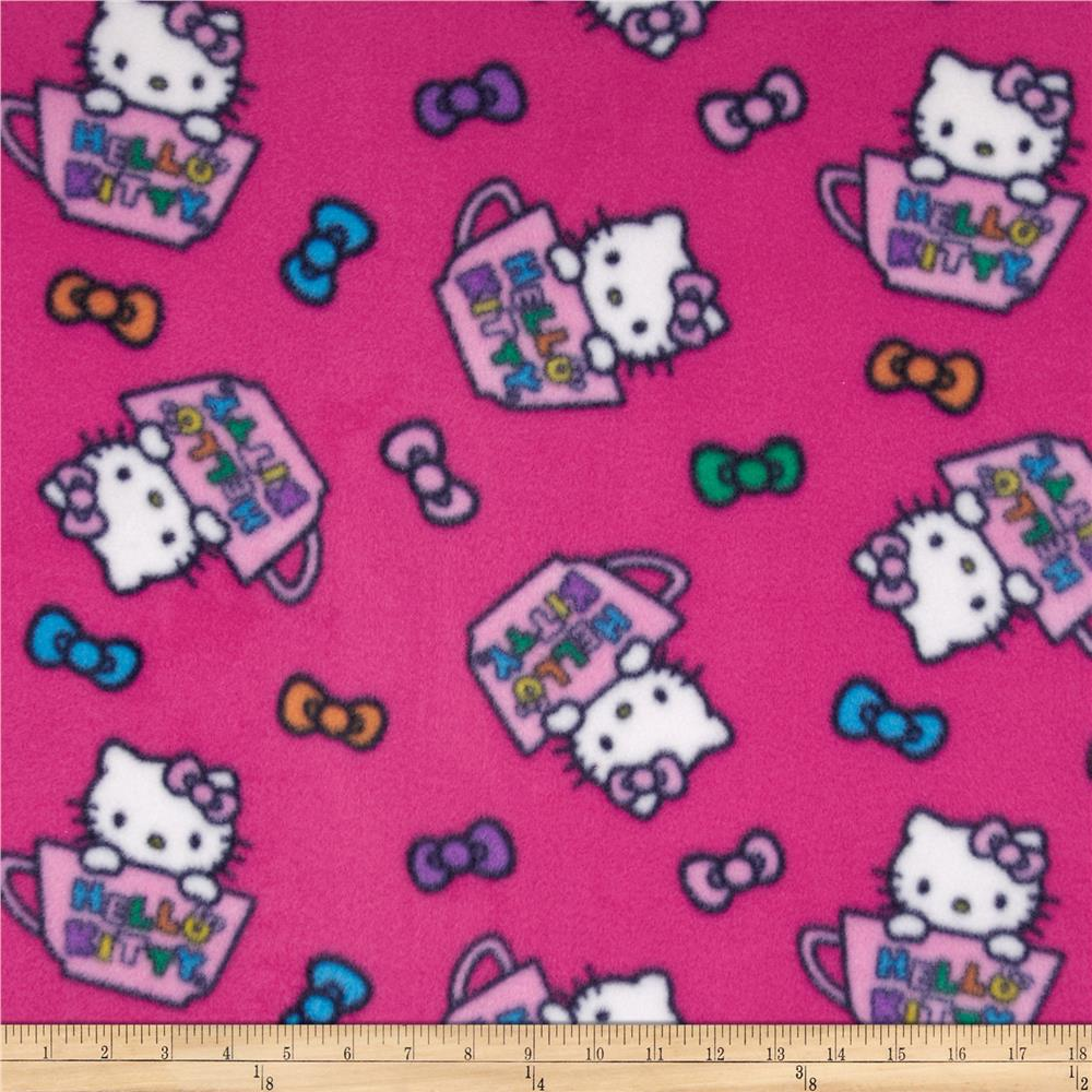 Hello Kitty Fleece Hello Kitty in the Cup Pink Fabric By The Yard