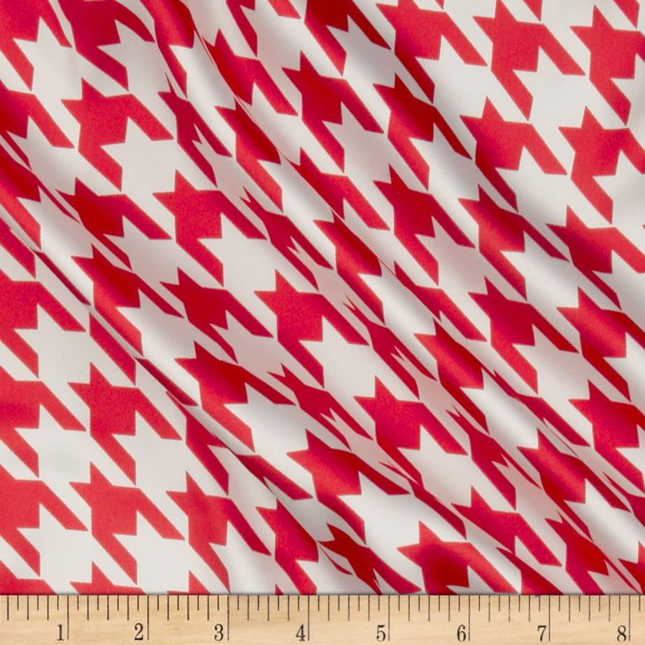 Satin Charmeuse Houndstooth Rose Red/White
