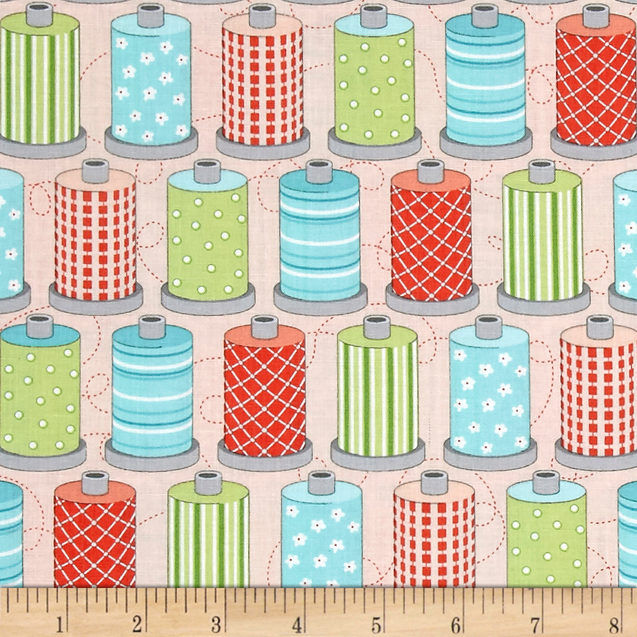 Sewing Room Spools Pink Fabric