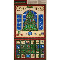 Season's Greetings Advent Calender Panel Fabric