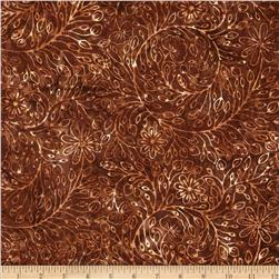 Moda Xanadu Batiks Floral Scroll Earth