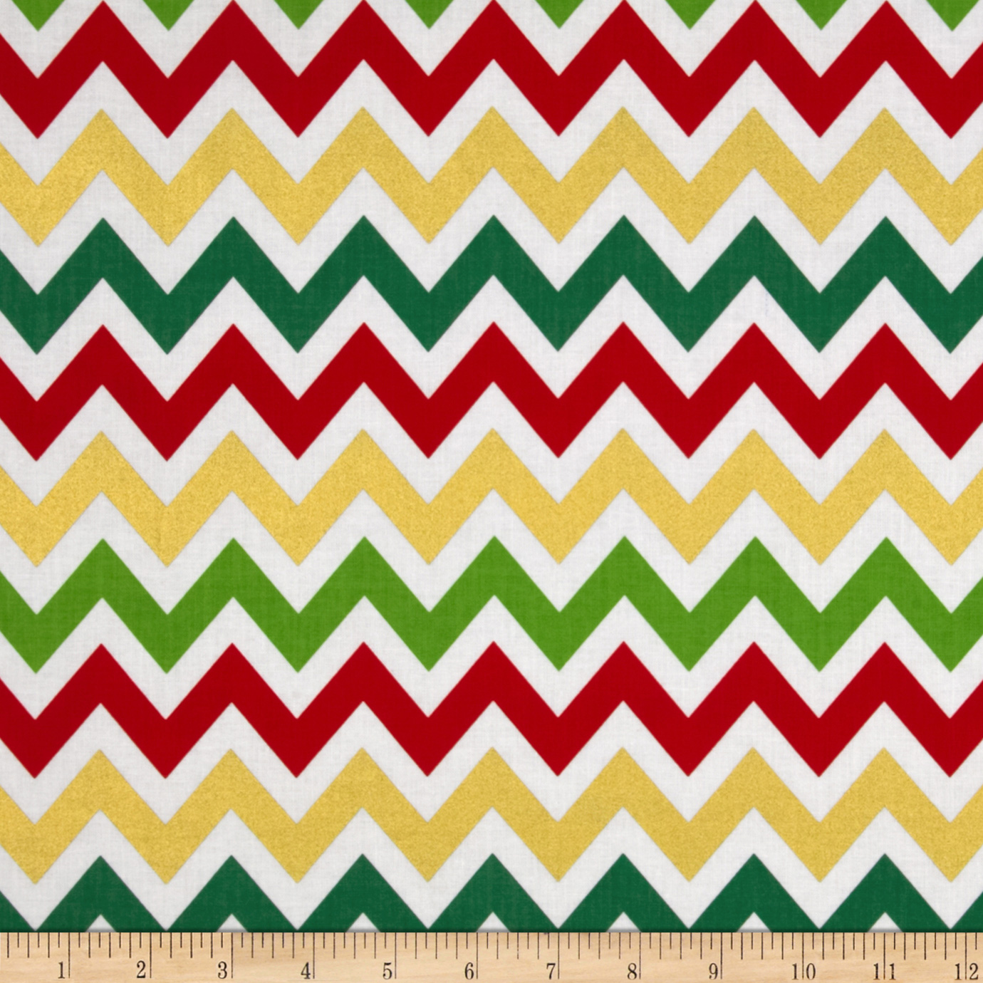 Remix Metallic Large Chevron Holiday Fabric