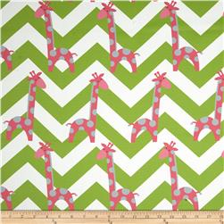 RCA Giraffe Chevron Blackout Drapery Fabric Pink/Grey/Green