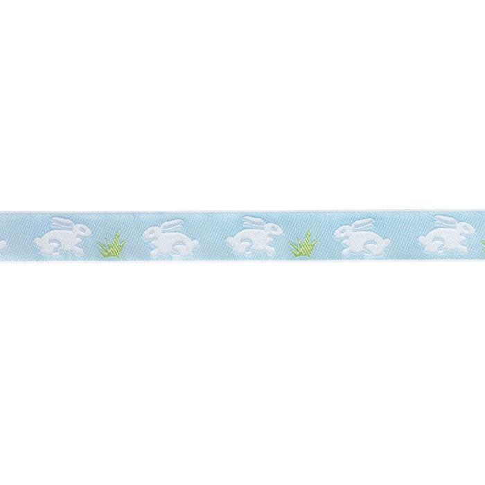 5/8'' Ribbon Bunnies White/Baby Blue