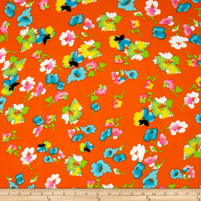 Stretch ITY Knit Floral Orange
